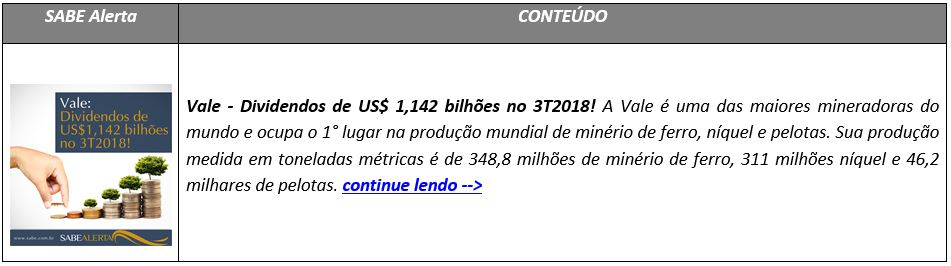 Vale - Dividendos de US$ 1,142 bilhões no 3T2018!