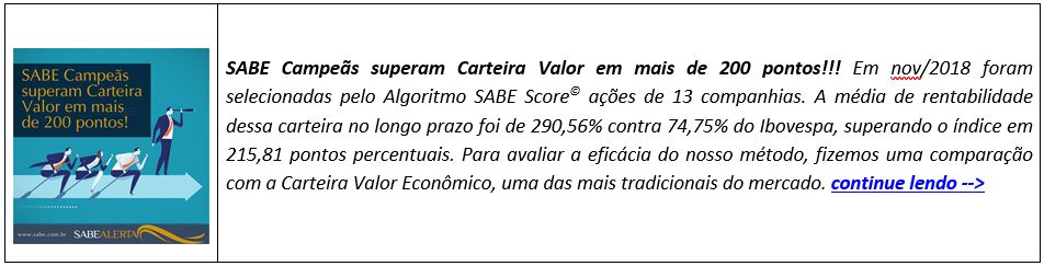 SABE Campeãs superam Carteira Valor em mais de 200 pontos!!!