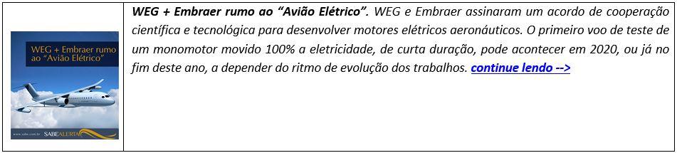 """WEG + Embraer rumo ao """"Avião Elétrico"""""""