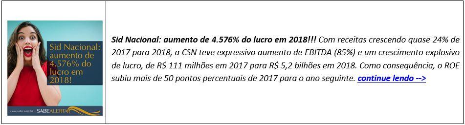 Sid Nacional: aumento de 4.576% do lucro em 2018!!!