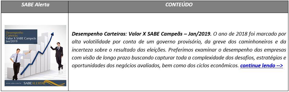 Desempenho Carteiras: Valor X SABE Campeãs – Jan/2019