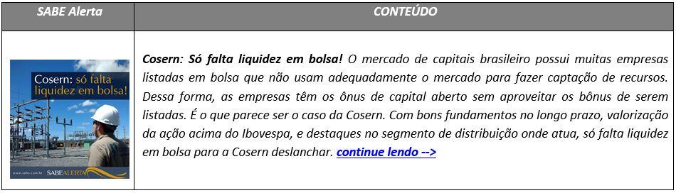 Cosern: Só falta liquidez em bolsa!
