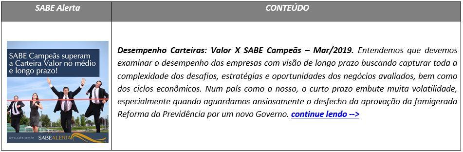 Desempenho Carteiras: Valor X SABE Campeãs – Mar/2019