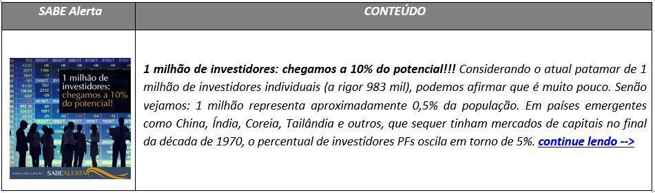 1 milhão de investidores: chegamos a 10% do potencial!!!